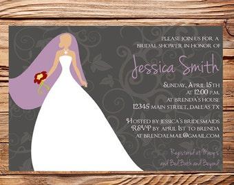Bridal Shower Invitation,Bride, Bride Wedding shower, Wedding Dress, Bridal Shower Invitation, Gray, Purple (6031)
