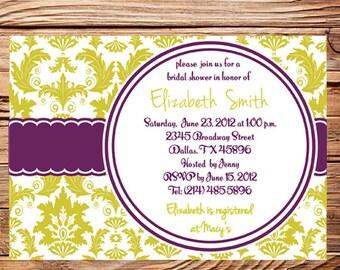 Bridal Shower Invitation,Damask Bridal or Wedding shower,Baby Shower,Green, Purple, Damask Shower Invitation,digital, printable, 5065
