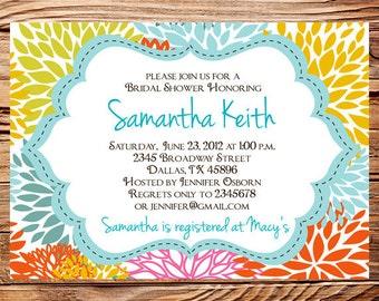 Bridal shower Invitation,wedding shower Invitation,Floral Wedding Shower Invitation,Invite,digital, printable file, 5157