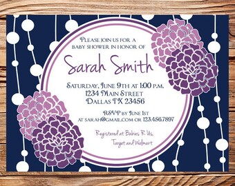 Baby shower invitation, floral baby shower Invitation, boy, girl, purple flowers shower Invite,  digital, printable file, 1118