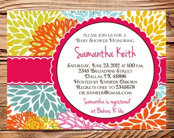 Baby shower invitation, floral baby shower Invitation, boy, girl, baby Shower Invite, pink, yellow, Invite,  digital, 1113