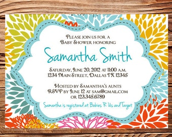 Baby shower invitation, floral baby shower Invitation, boy, girl, baby Shower Invite, blue, pink, yellow, orange, Invite, 1105