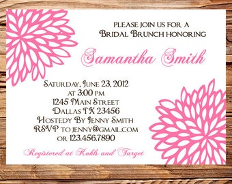 Bridal shower Invitation,PInk Wedding Shower Floral, Pink Flower Wedding Shower Invite,digital, printable file, 5139
