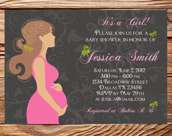 Baby Shower Invitation, Pregnant woman baby shower invite, Mom to be baby shower, Invite, Digital, Printable, 1188