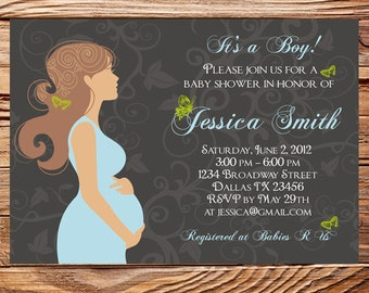 Baby Shower Invitation, Pregnant woman baby shower invite, Mom to be baby shower, Invite, Digital, Printable, 1189