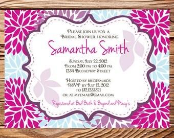 Bridal shower Invitation,Floral Wedding Shower Invitation,Pink, Blue, Purple Flower Invite,digital, printable file, 5075