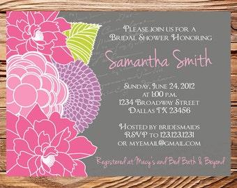 Bridal shower Invitation,Floral Wedding Shower, Floral Bridal Shower, Pink, Purple, Green, Gray Invite, digital, printable file, 5082