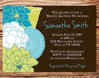 Bridal shower Invitation,Floral Wedding Shower, Floral Bridal Shower Invitation,Brown, Blue, Green, Invite, digital, printable, 5081