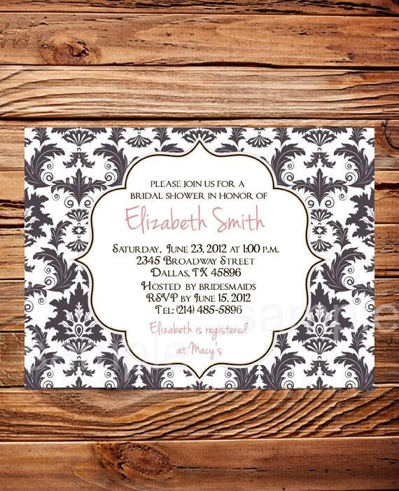 Damask Bridal shower Invitation Digital, printable file, Beautiful gray, pink, white, damask wedding shower invitation, 5180