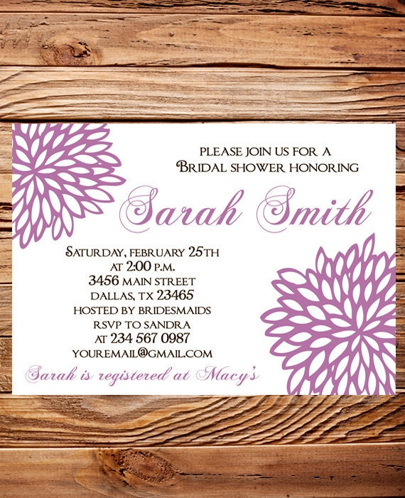 Purple Flower Bridal Shower Invitation : Bridal shower invitationpurple flowers wedding