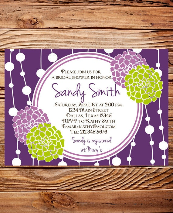 Purple Flower Bridal Shower Invitation : Bridal shower invitationbridal invite by