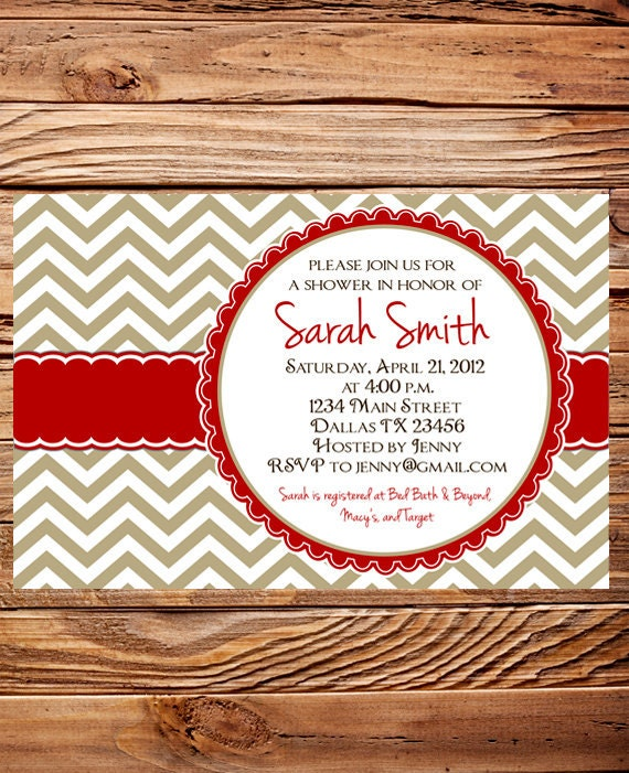 Bridal Shower Invitation,Chevron Stripes Wedding shower Invitation Digital, Khaki, Red Shower Invitation,digital, printable, 5061