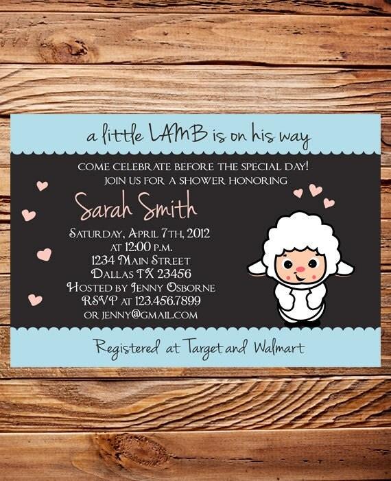 little lamb baby shower invitation boy girl girl baby, Baby shower invitations