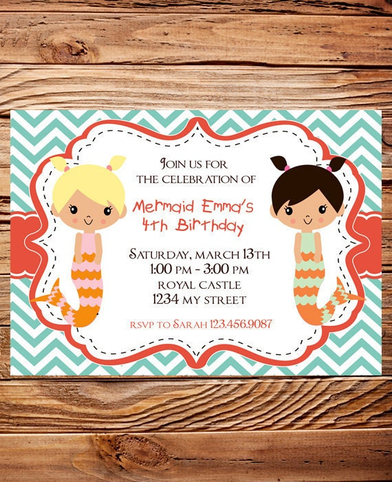 Mermaid Birthday Party Invitation, GIRL, Little Mermaid Birthday Party, Teal, Orange, Chevron Stripes, Printable, Digital, 101