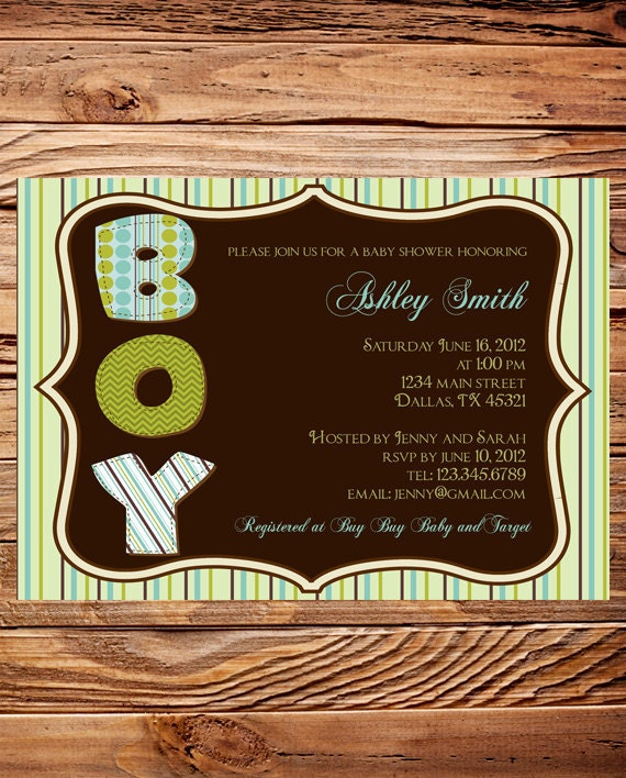 Ornate Frame Baby Boy Shower Invite, Stripes Baby Boy Shower Invite, Digital Printable file, Beautiful Green and Brown, 1433