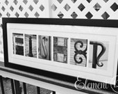 Letter Alphabet Photography Last Name - Modern 10x26 Frame, Personalized Letter Photo Art