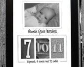Birth Announcement Number Photography Name Frame - Personalized with your own photo