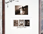 Date Wedding Guest Book Alternative / Number Photography / Add your photo after the wedding / Sepia Frame