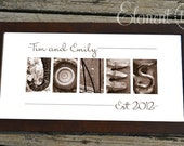 Personalized Wedding Gift Alphabet Photo Art, Personalized Sepia Letter Photo Name Frame, Wedding Gift for Couples - 10x20 Modern Frame