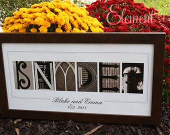 Unique Bridal Shower or Wedding Gift, Alphabet Photo Letter Art - Sepia 10x20 Modern Frame, Personalized Last Name Gift