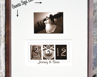 Wedding Guest Book Alternative / Wedding Guest Book Ideas / Custom Wedding Date Guest book / Add your photo after the wedding / Sepia Frame