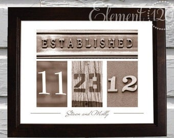 Wedding Date Number Art  - Sepia 11x14 UNFRAMED Print - Wedding or Anniversary Gift