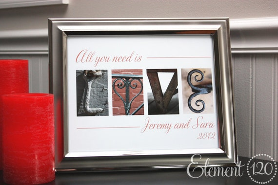 Engagement Gift Alphabet Photo Letter Art Frame - All you need is love - personalized with your names