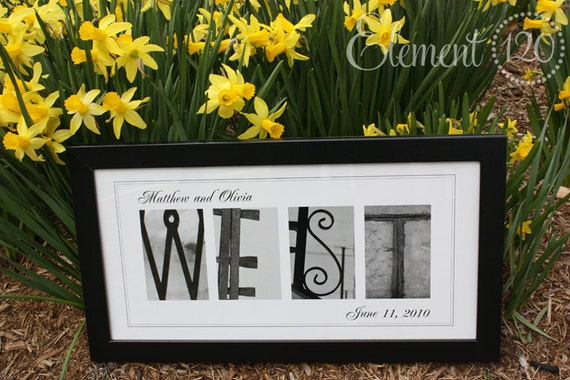 Alphabet Photography Name Frame PERSONALIZED Wedding Gift- 10x20 Modern - Great for Anniversaries