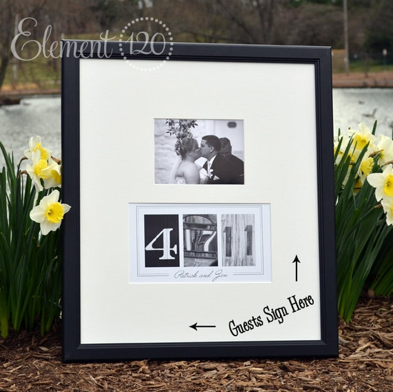 Custom Wedding Guest Book Ideas, Photo Number Date Frame - Add your own photo after the wedding for a unique Wedding Guest Book decoration