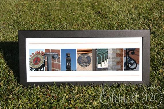 Baltimore Orioles Alphabet Photo Letter Art - 8x20 Frame - Photos taken around Camden Yards