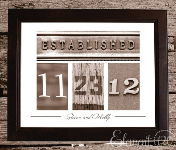 Personalized Gift Wedding Date Frame with Number Photo Art - Sepia 11x14 Frame - Custom Wedding or Christmas Gift Idea