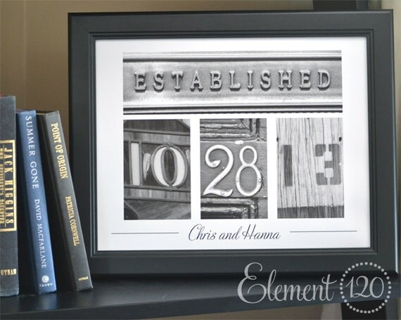 Wedding Gift Date Frame with Personalized Number Photo Art - 11x14 Black Frame, Great Housewarming, Wedding or Anniversary Gift