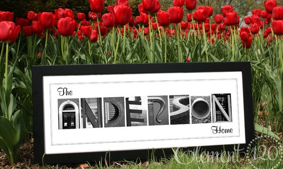 Personalized Photo Letter Art - Framed Modern 10x26, Great Home Decor for Wedding, Anniversary or Bridal Shower Gifts