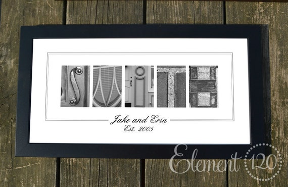 Personalized Wedding Gift Architecture and Object Letter Art / Custom Designed with Buyer selected choices