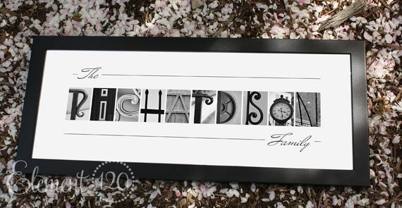 Wedding Gift Alphabet Art : or Wedding Gift ArtFramed Modern 10x26, Personalized Letter Art ...