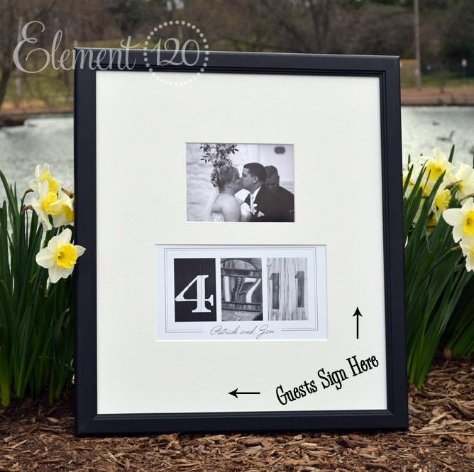 Custom wedding guest book ideas photo number date frame add for Photo wedding guest book