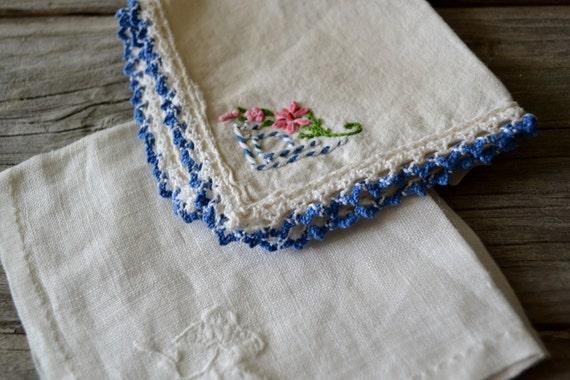 Handstitched Vintage Handkerchiefs 1940's