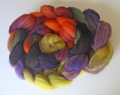 """Soft Domestic Wool Hand Dyed Roving """"Autumn Wild"""" -  4 oz. - Easy & Fun to Spin - Green, Orange, Yellow, Mauve, Purple, Brown"""