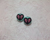 Bow and Heart Button Earrings