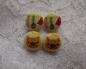 Cute Bakery Utencils and Piggy Bread Fabric Button Earrings - 2 Pairs