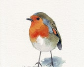 Little Robin Original Watercolor Painting- (Splodgepodge)