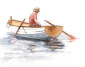 Boat Painting - B054-  print of watercolor painting -5 by 7 print
