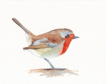 Robin painting - Print of watercolor painting- 5 by 7 print wall art print - bird art print