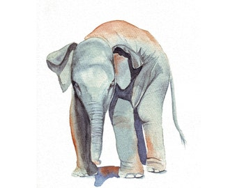 Elephant Painting-  print of watercolor painting 5 by 7 print