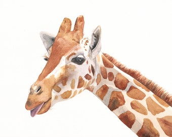 Giraffe Painting -G039- giraffe watercolor painting print of watercolor painting A4, African animal print
