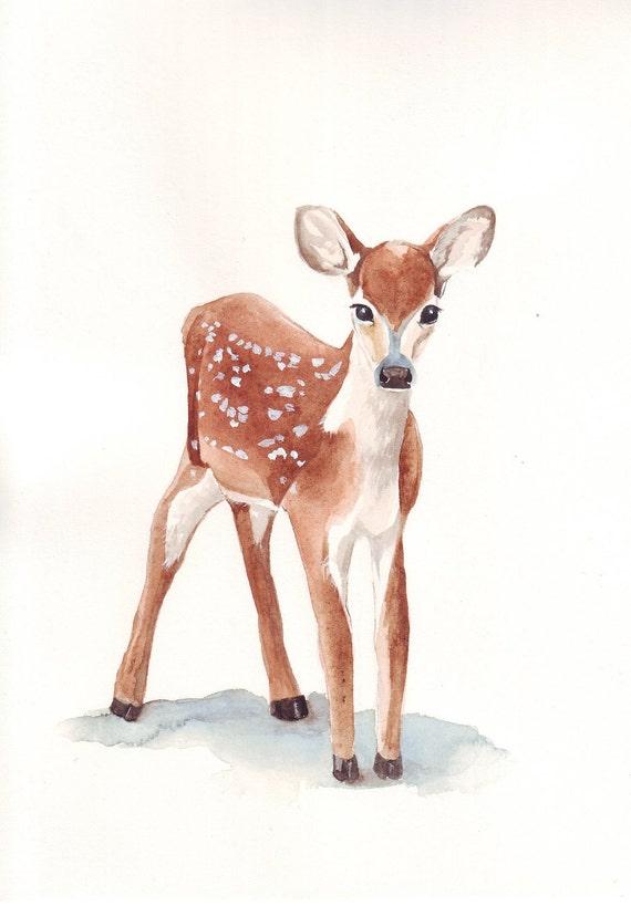 Deer Painting  watercolor painting print A4
