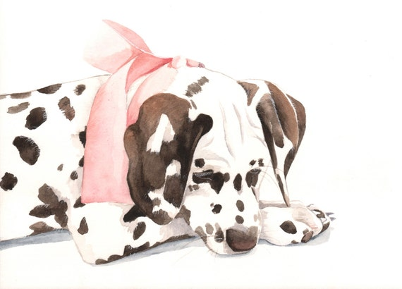 Dalmatian Painting - Pet Portrait Custom painting dog art dog watercolor painting