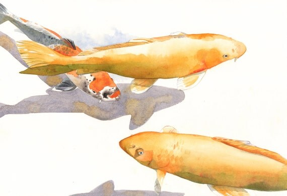 Koi Painting - print of watercolor painting FISH A4 print