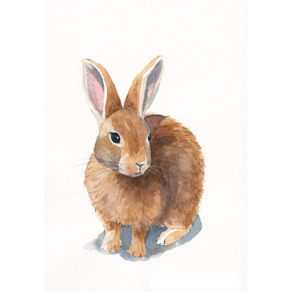 Rabbit Painting Archival print of watercolor painting 5 by 7 print