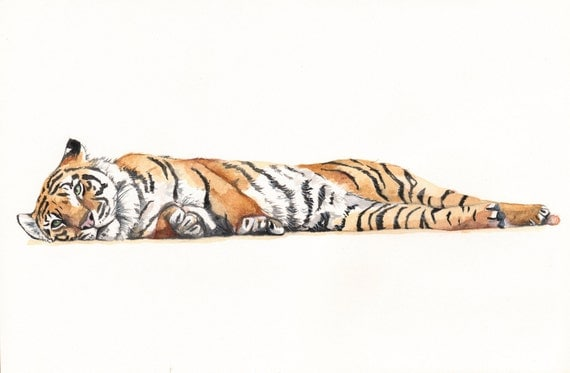 Tiger Painting- T071- print of watercolor painting - A4 print